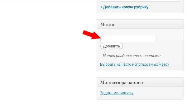 Присвоить метку записи в WordPress