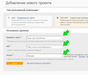 Добавляем проект в систему Seopult