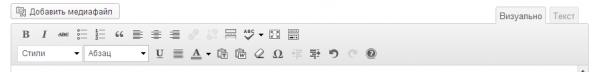 Собственные стили в визуальном редакторе WordPress